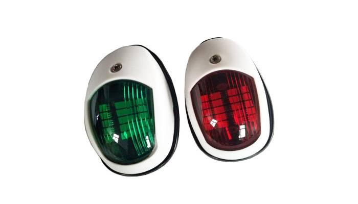 Комплект бортовых навигационных огней в белом корпусе (светодиод)