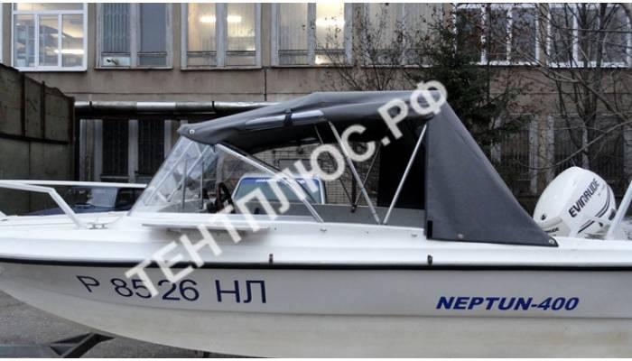 """Тент на лодку Нептун-400 на стекло с калиткой производства """"Тент Плюс"""""""